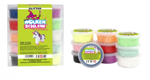 Wolkenschleim 10er Set - Glitzer Farben